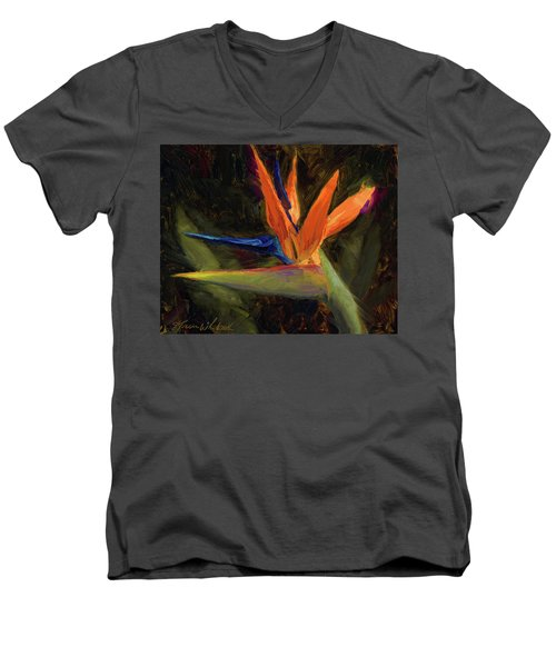 Men's V-Neck T-Shirt featuring the painting Extravagance - Tropical Bird Of Paradise Flower by Karen Whitworth
