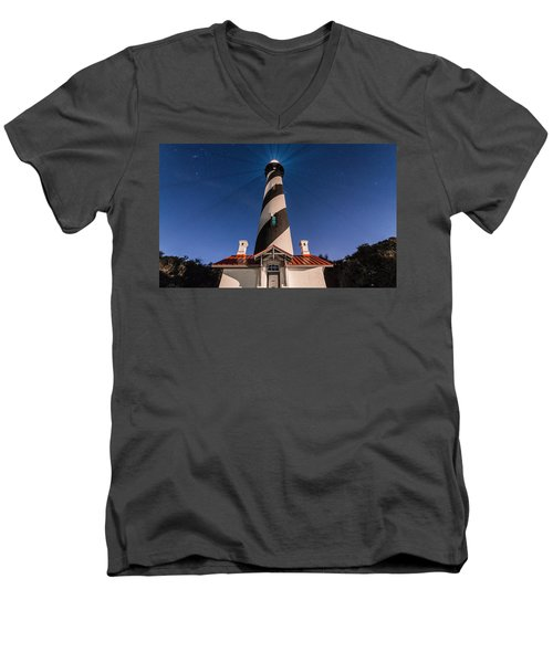 Men's V-Neck T-Shirt featuring the photograph Extreme Night Light by Kristopher Schoenleber