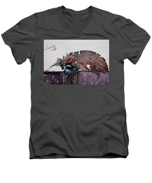 Eye Feather Men's V-Neck T-Shirt by Geni Gorani