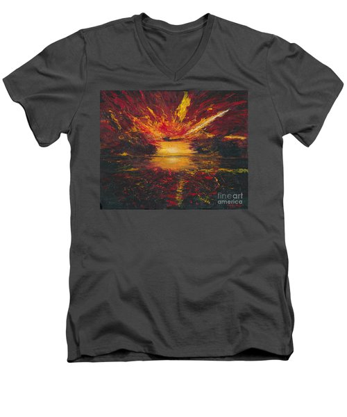 Men's V-Neck T-Shirt featuring the painting Eye Of The Storm by Ania M Milo