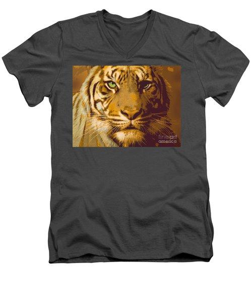Eye Of The Tiger Animal Portrait  Men's V-Neck T-Shirt