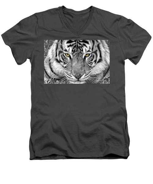Men's V-Neck T-Shirt featuring the digital art Eye Of The Tiger by Ray Shiu