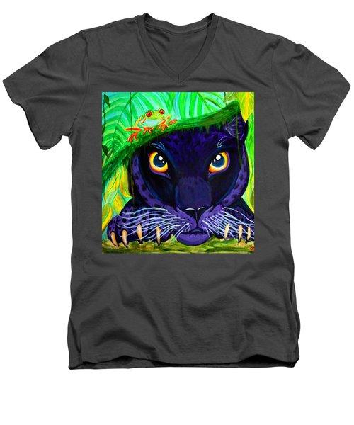 Eyes Of The Rainforest Men's V-Neck T-Shirt by Nick Gustafson