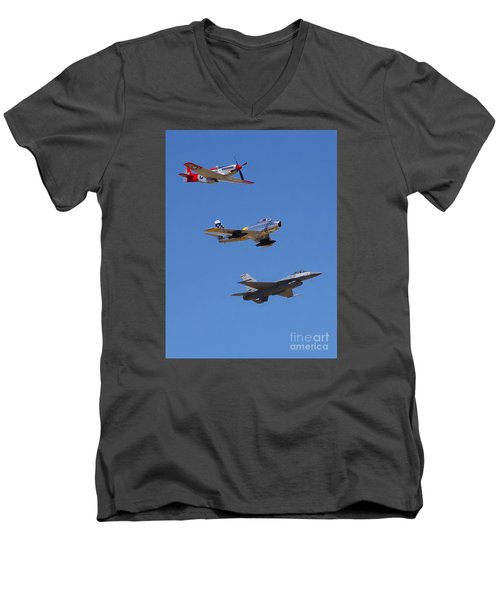 F-16 P-51d F-86 Heritage Flight- Flyby Men's V-Neck T-Shirt