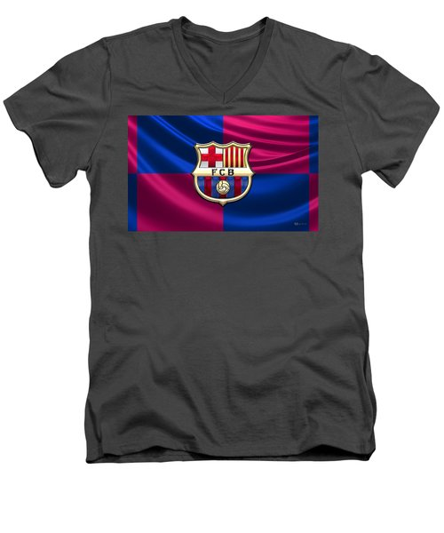 F. C. Barcelona - 3d Badge Over Flag Men's V-Neck T-Shirt by Serge Averbukh