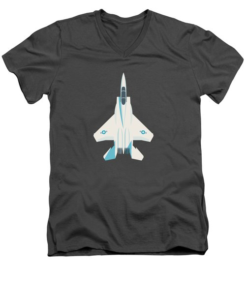 F15 Eagle Fighter Jet Aircraft - Crimson Men's V-Neck T-Shirt