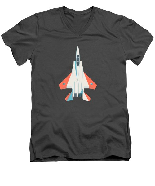 F15 Eagle Fighter Jet Aircraft - Test Slate Men's V-Neck T-Shirt