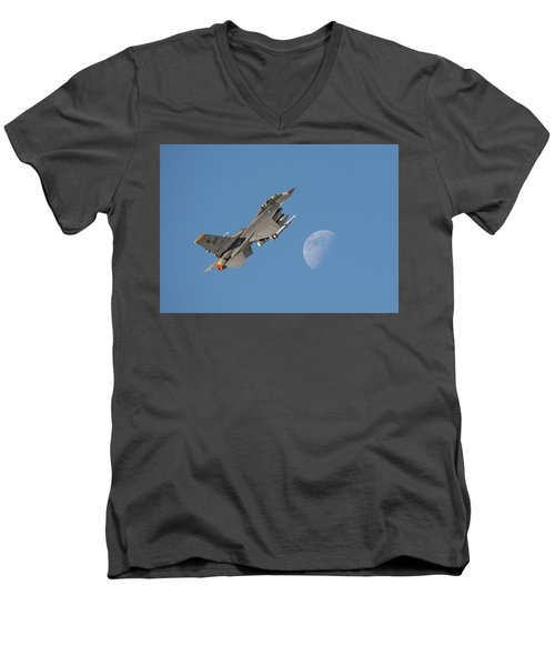 Men's V-Neck T-Shirt featuring the photograph F16 - Aiming High by Pat Speirs