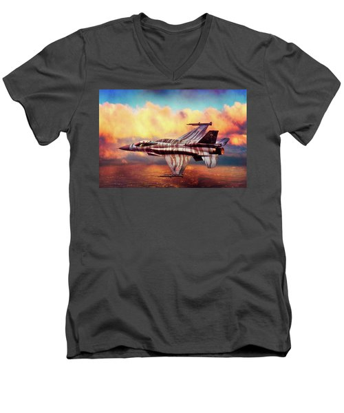 Men's V-Neck T-Shirt featuring the photograph F16c Fighting Falcon by Chris Lord