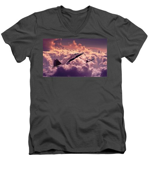 F22 Raptor Aviation Art Men's V-Neck T-Shirt by John Wills