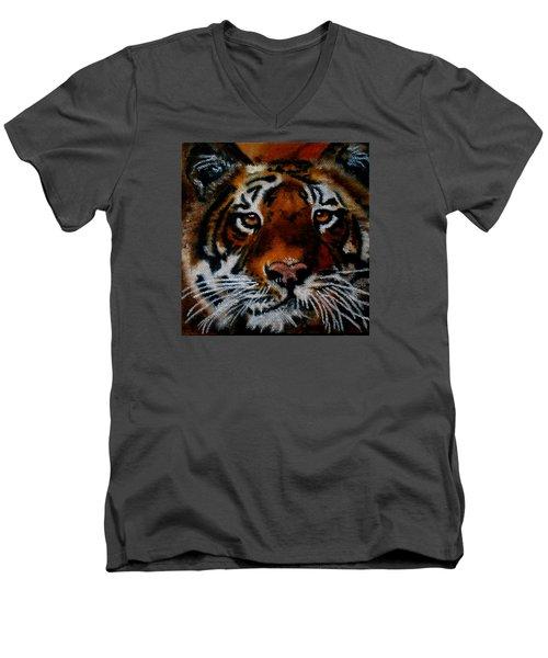 Face Of A Tiger Men's V-Neck T-Shirt by Maris Sherwood