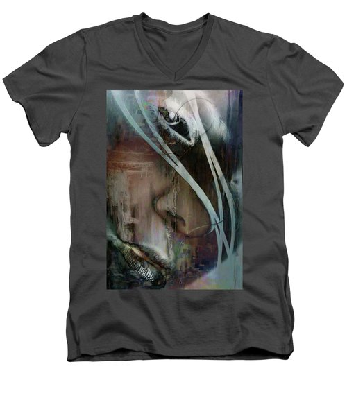 Men's V-Neck T-Shirt featuring the digital art Face Pop by Greg Sharpe