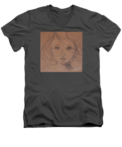 Face Study Men's V-Neck T-Shirt by Tamyra Crossley