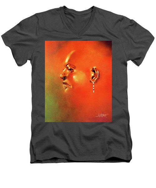 Facial Vignette In Profile Men's V-Neck T-Shirt