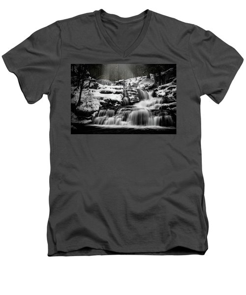 Men's V-Neck T-Shirt featuring the photograph Factory Falls In Winter by Chris Lord