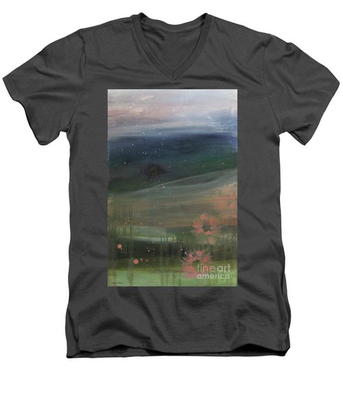 Men's V-Neck T-Shirt featuring the painting Faded Days Gone By by Robin Maria Pedrero