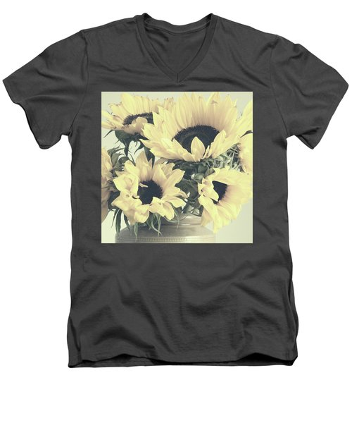Faded Sunflowers Men's V-Neck T-Shirt