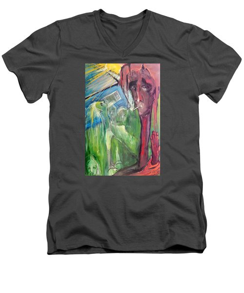 Men's V-Neck T-Shirt featuring the painting Faintly Visionary by Kenneth Agnello