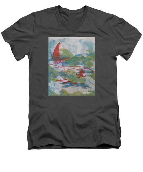 Men's V-Neck T-Shirt featuring the painting Fair Winds Calm Seas by Cynthia Lagoudakis