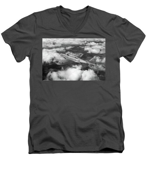 Men's V-Neck T-Shirt featuring the photograph Fairey Battle In Flight Bw Version by Gary Eason