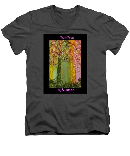 Fairie Forest Men's V-Neck T-Shirt by Suzanne Canner