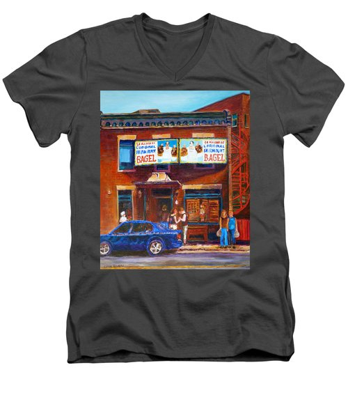 Men's V-Neck T-Shirt featuring the painting Fairmount Bagel With Blue Car  by Carole Spandau