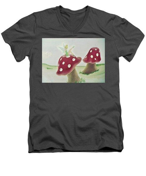 Fairy On Mushroom Trees Men's V-Neck T-Shirt