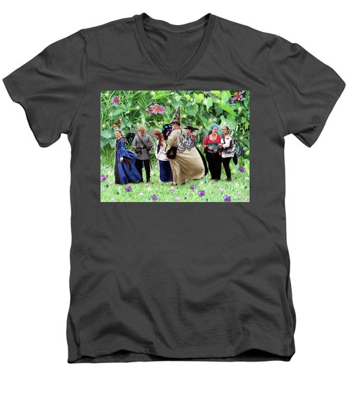 Fairy Queue Men's V-Neck T-Shirt by Lise Winne