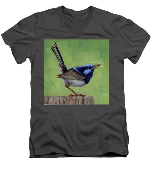 Men's V-Neck T-Shirt featuring the painting Fairy Wren With Lunch  by Margaret Stockdale