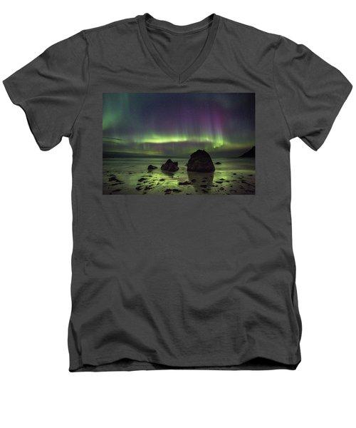 Fairytale Beach Men's V-Neck T-Shirt by Alex Conu