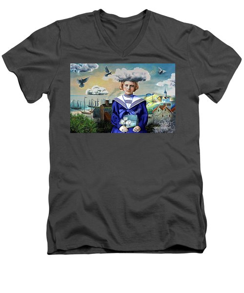 Men's V-Neck T-Shirt featuring the digital art Faith In The Future by Alexis Rotella
