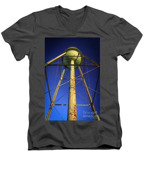 Men's V-Neck T-Shirt featuring the photograph Faithful Mary Leila Cotton Mill Water Tower Art by Reid Callaway