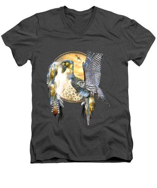 Falcon Dreams Men's V-Neck T-Shirt by Carol Cavalaris