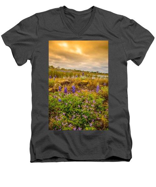 Zapata Falcon Lake 2 Men's V-Neck T-Shirt by Leticia Latocki