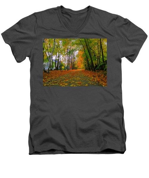 Fall Afternoon On The Rail Trail Men's V-Neck T-Shirt