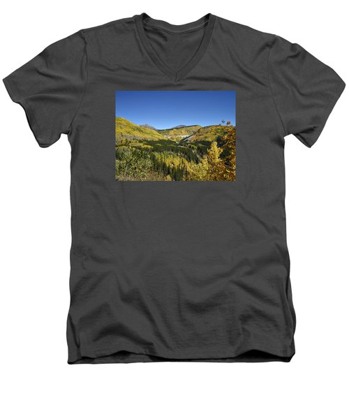 Fall Aspens In San Juan County In Colorado Men's V-Neck T-Shirt by Carol M Highsmith