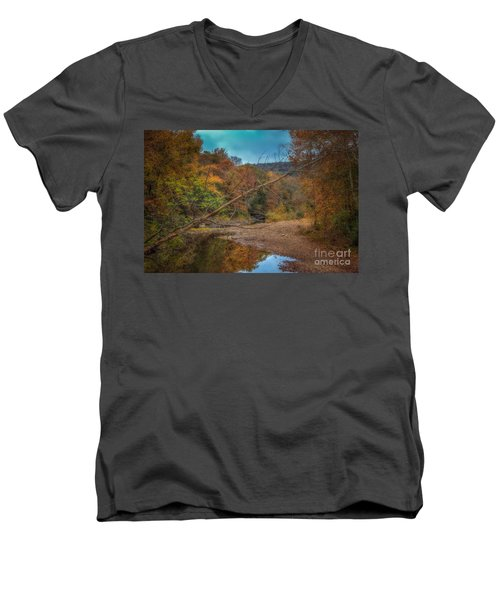 Fall At Barkers Gap Men's V-Neck T-Shirt