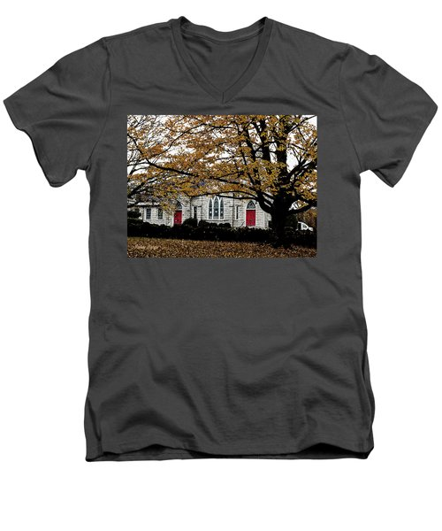 Fall At Church Men's V-Neck T-Shirt