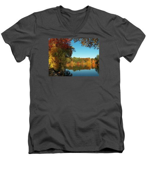 Fall At Johnson Pond Men's V-Neck T-Shirt