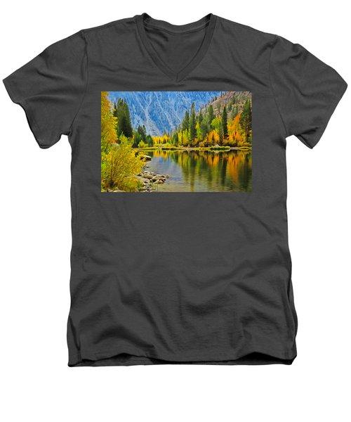 Fall At North Lake Men's V-Neck T-Shirt