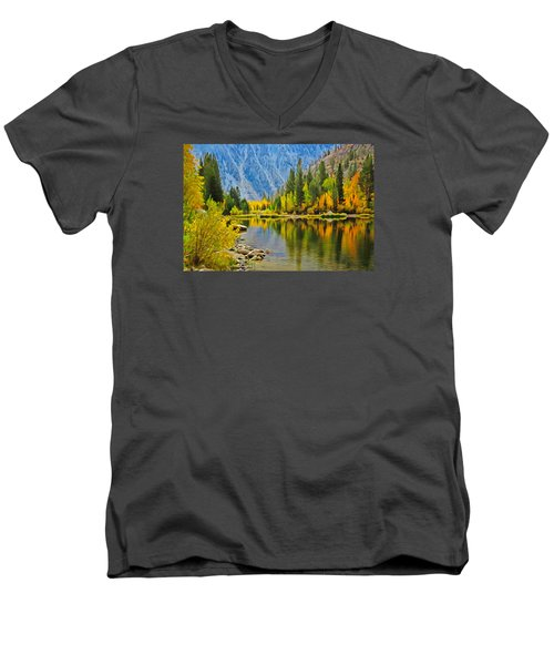 Fall At North Lake Men's V-Neck T-Shirt