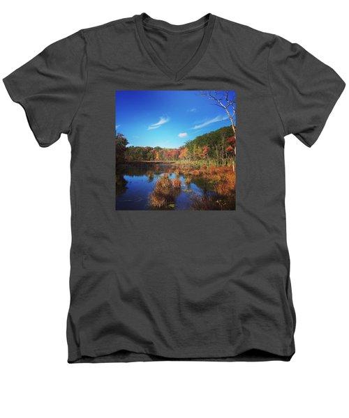 Fall At The Pond Men's V-Neck T-Shirt by Jason Nicholas