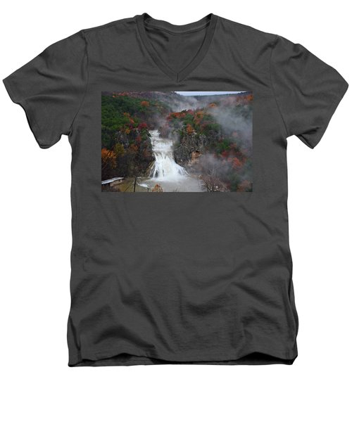 Fall At Turner Falls Men's V-Neck T-Shirt