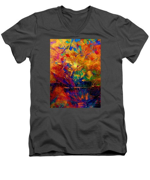 Men's V-Neck T-Shirt featuring the painting Fall Bouquet  by Lisa Kaiser