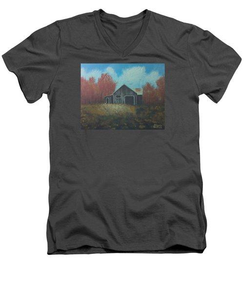 Autumn Barn Men's V-Neck T-Shirt by Brenda Bonfield