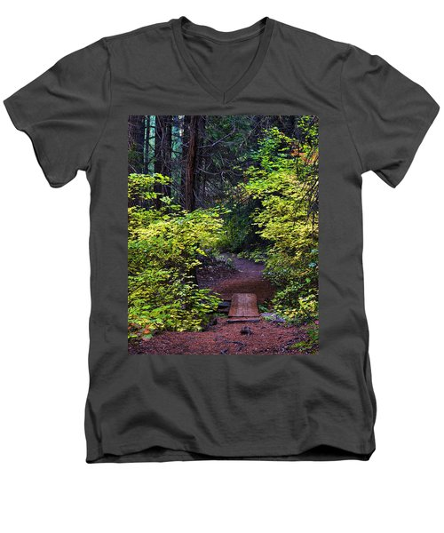 Metolius River Trail Fall Bridge Men's V-Neck T-Shirt