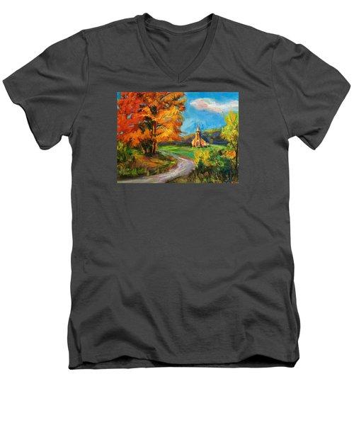 Fall Church Men's V-Neck T-Shirt by Jieming Wang