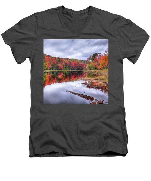 Men's V-Neck T-Shirt featuring the photograph Fall Color At The Pond by David Patterson