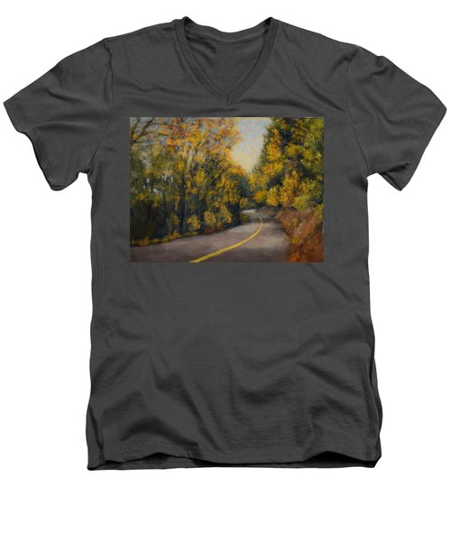 Men's V-Neck T-Shirt featuring the painting Fall Color by Nancy Jolley