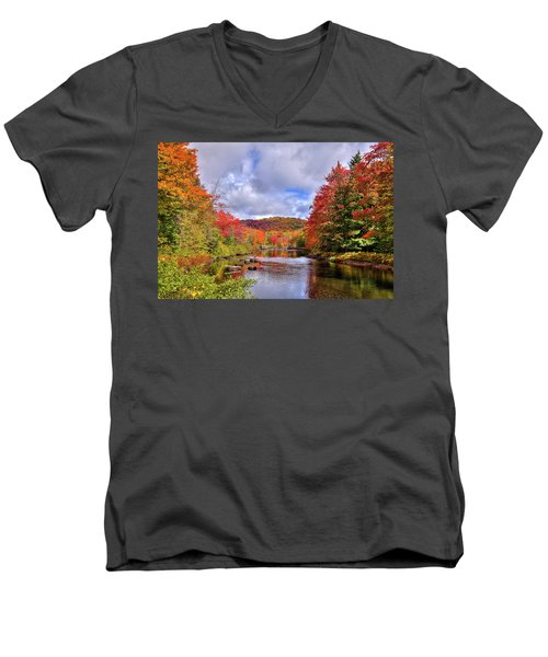 Fall Color On The River Men's V-Neck T-Shirt